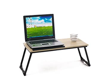 Table portable bureau en bois support pour ordinateur portable
