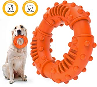 ABTOR Durable Dog Chew Toy - Toughest Natural Rubber - Beef Flavor - Texture Nub Indestructible Dog Toys for All Aggressive Chewers Large Dogs Puppy - Fun to Chew, Dental Care, Training, Teething