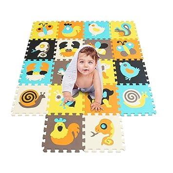 XMTMMD Suelo Para Ninos Y Infantiles EVA Puzzle ColchonetaPara Ninos Y Infantiles EVA Puzzle Colchonetas Puzzle (18 piezas) Play Mat Set - Material ...