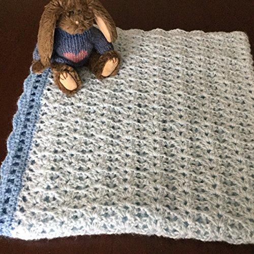 Light blue single strand 32x32 inch baby blanket with darker blue scalloped (Crocheted Blanket Edging)