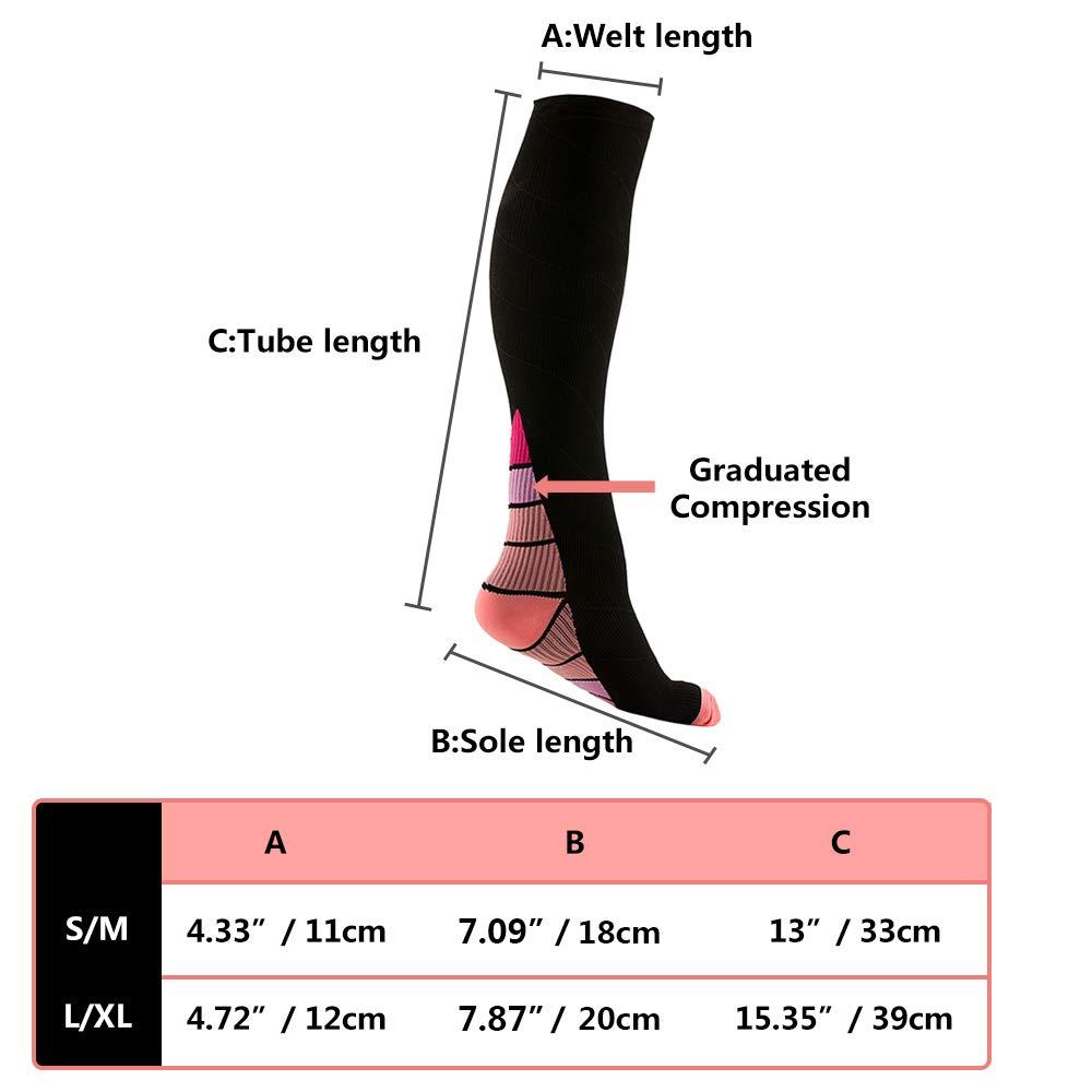 20-30mmHg REEHUT 2 Coppie Calze a Compressione Nero /& Blu,L//XL