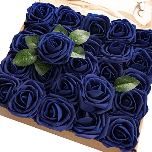 Ling's moment Artificial Flowers Royal Blue Roses 50pcs Real Looking Fake Roses w/Stem DIY Wedding Bouquets Centerpieces Arrangements Party Baby Shower Home Decorations