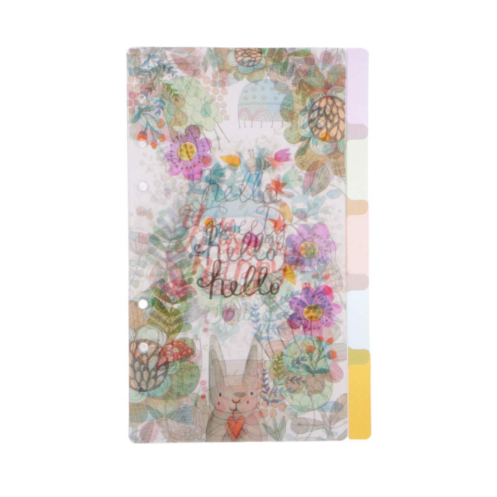 Exing 5PCS pagina indice notebook traslucido fiori categoria pagina 6/foro legante A5-2