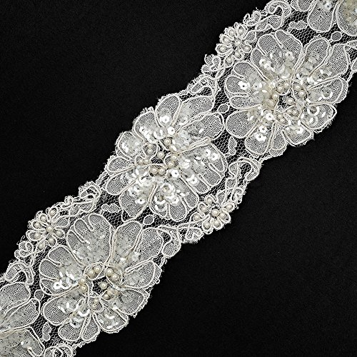 Beaded Sequin Embroidery Lace Trim, 2-7/8 Inch by 1 Yard, White, ROI-44559