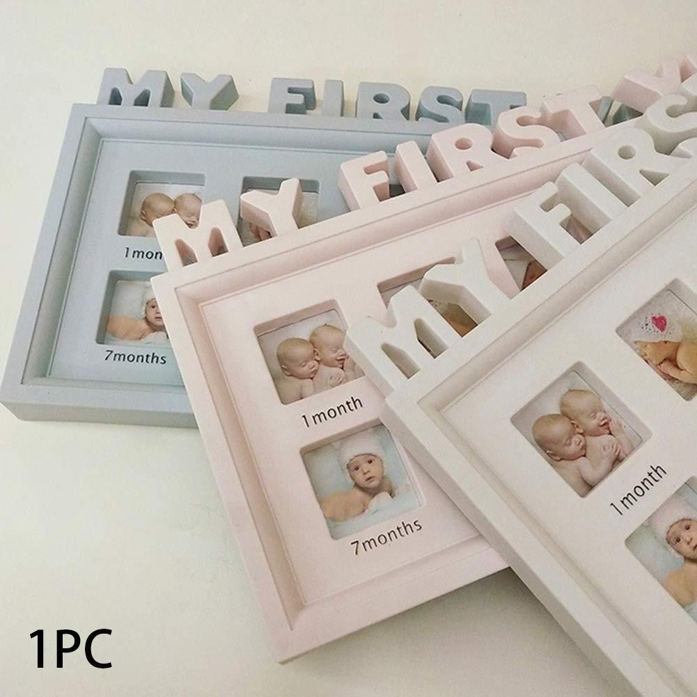 6SHINE Marco de Fotos 12 Meses Muestra Momentos Infant Girls Boys Souvenirs Display Newborn Baby PVC Multifuncional Decoraci/ón para el hogar Imagen Mi Primer a/ño Ornamento Escritorio Blanco