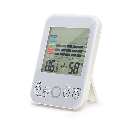 yunxuanlong Digital higrómetro termómetro medidor de humedad para interiores con pantalla táctil y moho alerta Temperatura