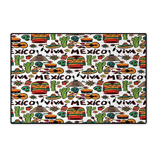 Mexican,Door-mat,Viva Mexico with Native Elements Poncho Tequila with Salsa and Hot Peppers Image,Bath Mats for Floors,Multicolor 20