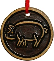 Stylized Pig Two-Sided Wood Ornament, Carved & Stained, 2.5 Diameter