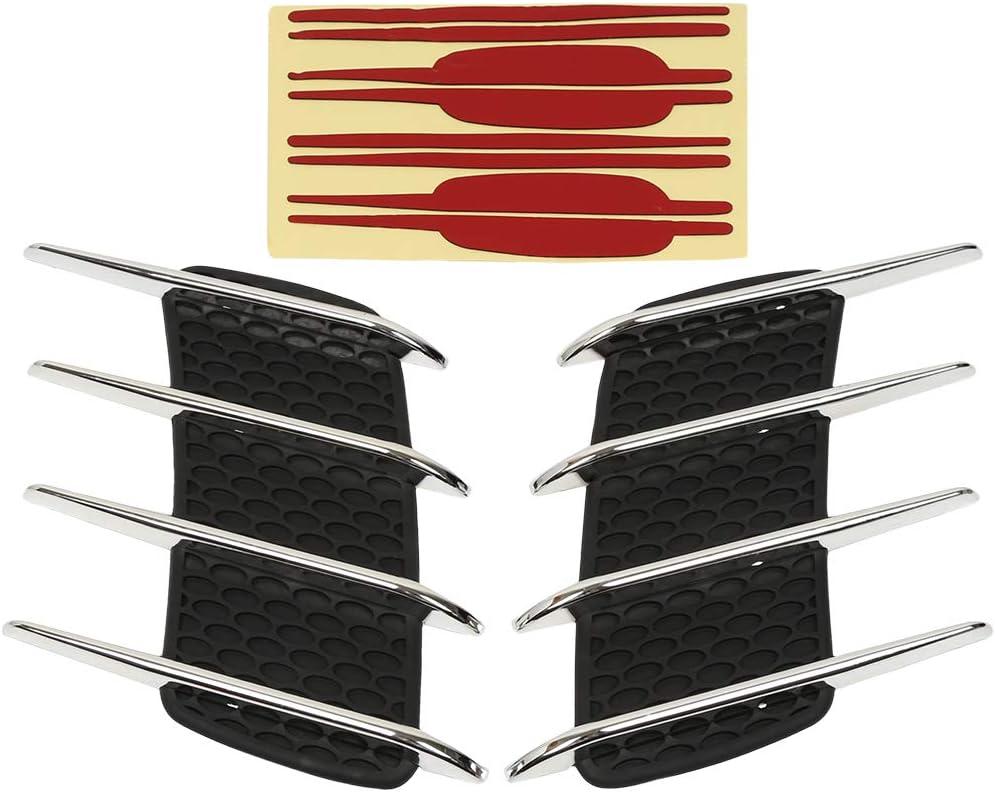 X AUTOHAUX 2pcs Car Side Air Flow Vent Fender Hole Cover Intake Grille Duct Decoration Sticker