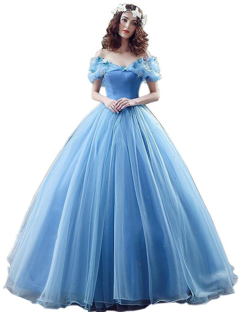 bluee Engerla Women's Cinderella Princess Organza Prom Ball Gown Quinceanera Dress