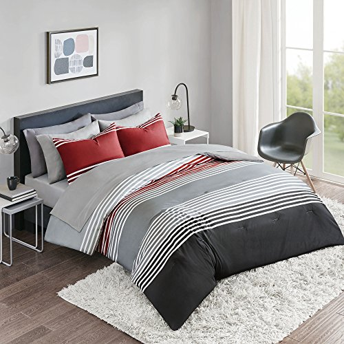 Comfort Spaces Colin 9 Piece Comforter Set All Season Microfiber Stripe Printed Bedding and Sheet with Two Side Pockets, Queen, Red/Grey