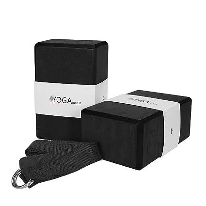 JBM Yoga Block plus strap with Metal D-Ring Yoga Brick Cork ...