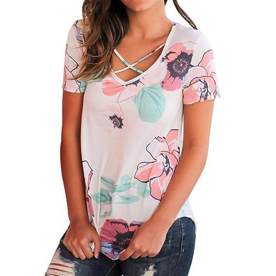 vovotrade 2017 Dibujo de flores Mujer Verano suelto informal fuera del hombro camisa de mezclilla Top