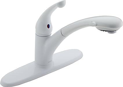 delta faucet signature single handle kitchen sink faucet with pull rh amazon com delta kitchen faucet handle removal delta kitchen faucet handle repair