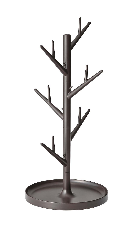 YAMAZAKI home 7989 Branch Glass Stand-Tree Holder Cup Organizer, 13.40 x 6.30 x 6.30 inches, Brown