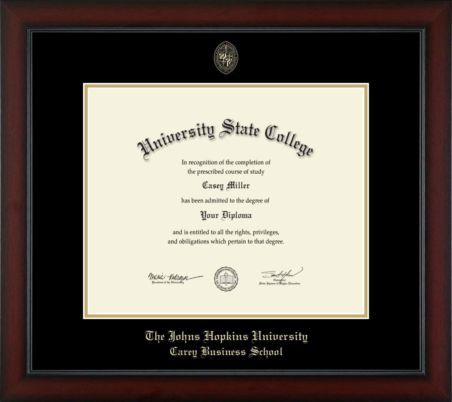 Johns Hopkins University Carey Business School - Officially Licensed - Gold Embossed Diploma Frame - Diploma Size 17'' x 14''