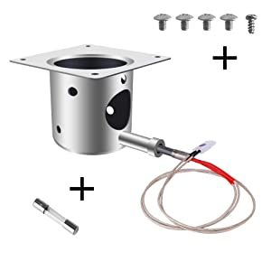 Fire Burn Pot and Hot Rod Ignitor Kit Replacement Parts, Purewind for Traeger Wood Pellet Grills Fire Pot and Igniter Combo Replacement for Traeger and Pit boss Pellet Grill