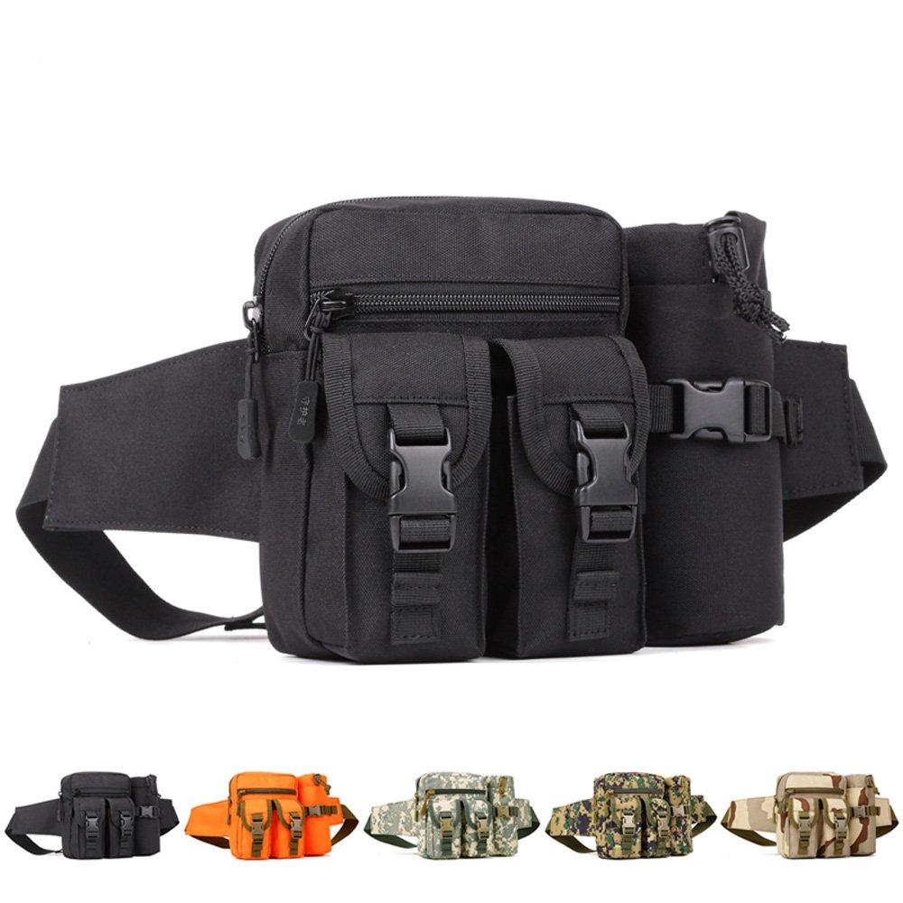 YuHan senderismo Waistpacks al aire libre táctico riñonera bolsa botella de agua bolsillo soporte Molle bolsa de cinturón de cadera, negro