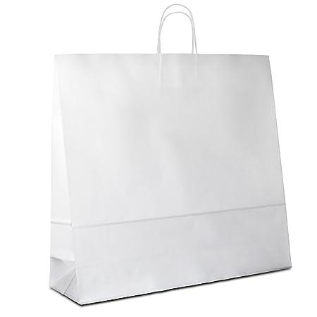 50 x Papiertragetaschen weiss 54+15x49 cm | stabile Papiertüten | Paper Bag Kordelhenkel | Papiertaschen Groß | Beutel | HUTN