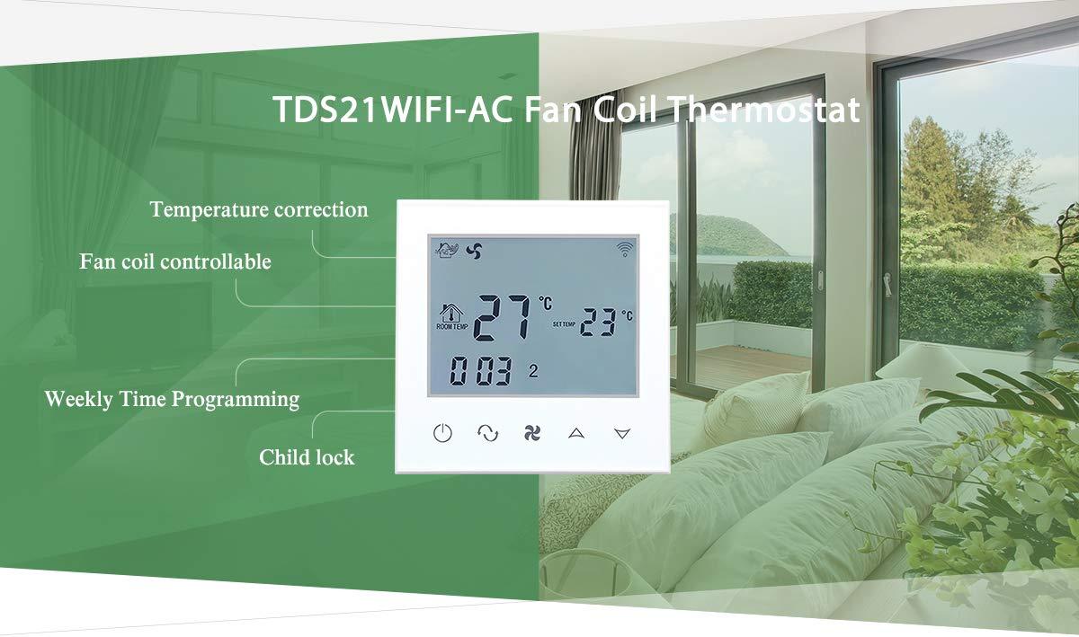 Beok TDS21WIFI-AC2-WB - Bobina de ventilador termostato con pantalla táctil para control de temperatura de habitación para aire acondicionado central, ...