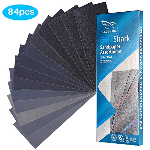 Sandpaper 84PCS Wet Or Dry Sanding Sheets 120 To 3000 Grit Abrasive Paper Polishing Paper Assortment 9 x 3.6 Inch Wood Furniture Finishing Painting Supplies Wall Treatments