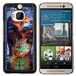 Caucho caso de Shell duro de la cubierta de accesorios de protección BY RAYDREAMMM - HTC One M9Plus M9+ M9 Plus - Psychedelic Neon Skull
