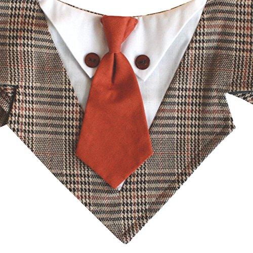 Tail Trends Sherlock Formal Dog Bandana with Orange Neck Tie (Medium)
