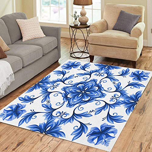 - Semtomn Area Rug 2' X 3' Porcelain Abstract Floral Blue White Gzhel Chinese Pattern Flower Home Decor Collection Floor Rugs Carpet for Living Room Bedroom Dining Room