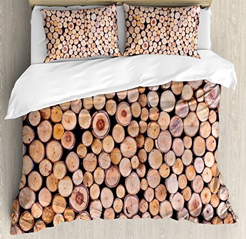 Ambesonne Rustic Duvet Cover Set King Size, Mass of Wood Logs Forest Tree Ecology Industry Group of Cut Lumber Circle Stack Image, Decorative 3 Piece Bedding Set with 2 Pillow ()
