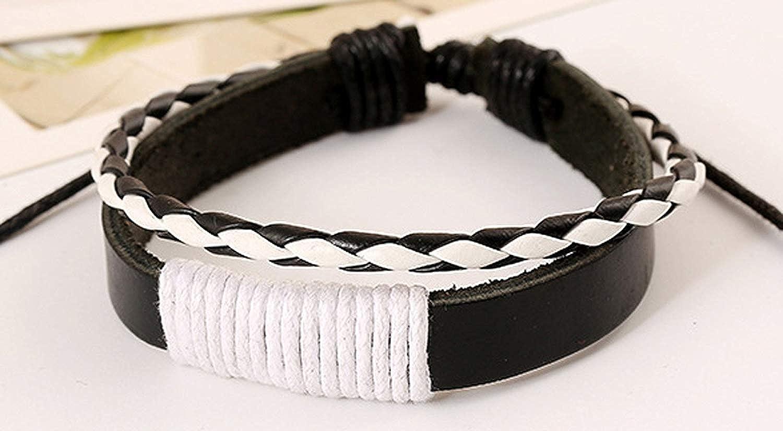 YABINI Men Punk Leather Manual Braided Rope Bracelet