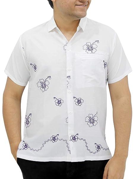 Flor de Hibisco Liso Bordado de rayón Bolsillo Hawaiano Camisa Ocasional  Hombres  Amazon.es  Ropa y accesorios 10fe3cda6a708