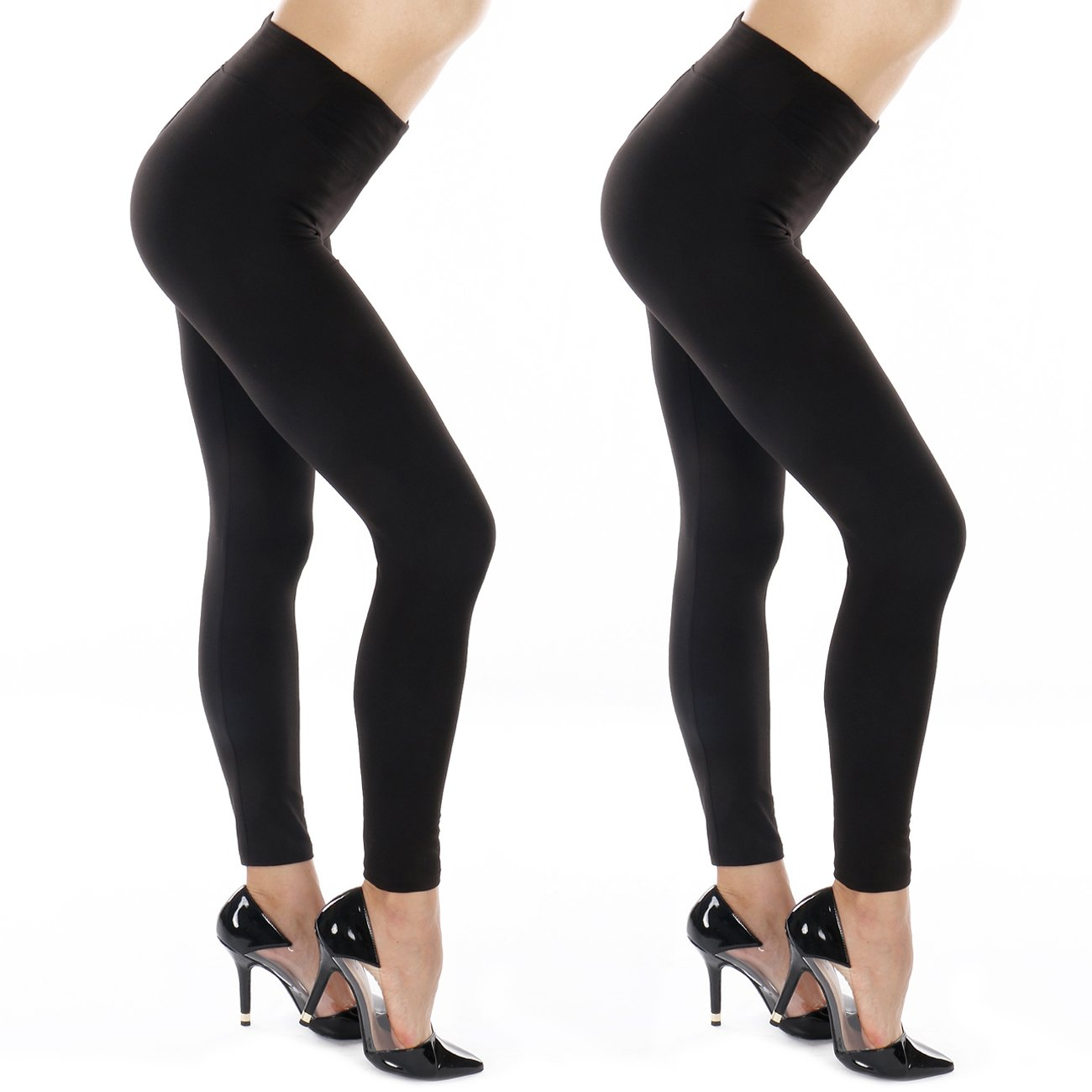 8ec3d665 Silky Soft Non See Thru 3 inches Yoga Waistband- Premium Brushed Knit 4way  Stretch Fashion Leggings