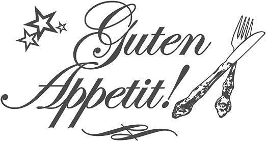 dekodino® Wandtattoo Spruch Küche Guten Appetit mit Messer und Gabel  Wanddeko