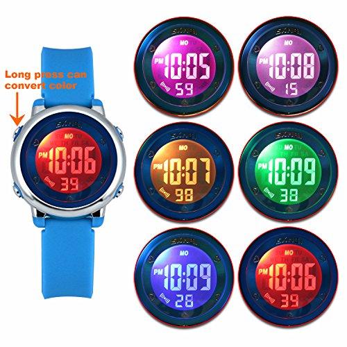 ... AZUL Reloj Niñas Reloj deportivo impermeable 5 ATM con cronómetro de alarma 6 luces traseras LED Reloj deportivo digitale para ninos: Amazon.es: Relojes