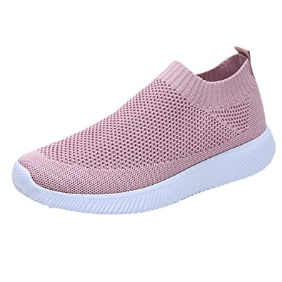 BaZhaHei Women Sheos Girl Loafers Mesh Breathable Flats Round Toe Sports  Shoes Lace-up Sneakers 115dfec2285f