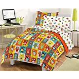 5 Piece Kids Silly Monster Theme Comforter Twin Set, Funny Cute All Over Happy Monsters Patchwork Be