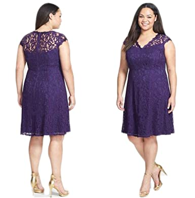Aokaixin V Neck Short Lace Prom Gown Purple Plus Size Mother Dresses