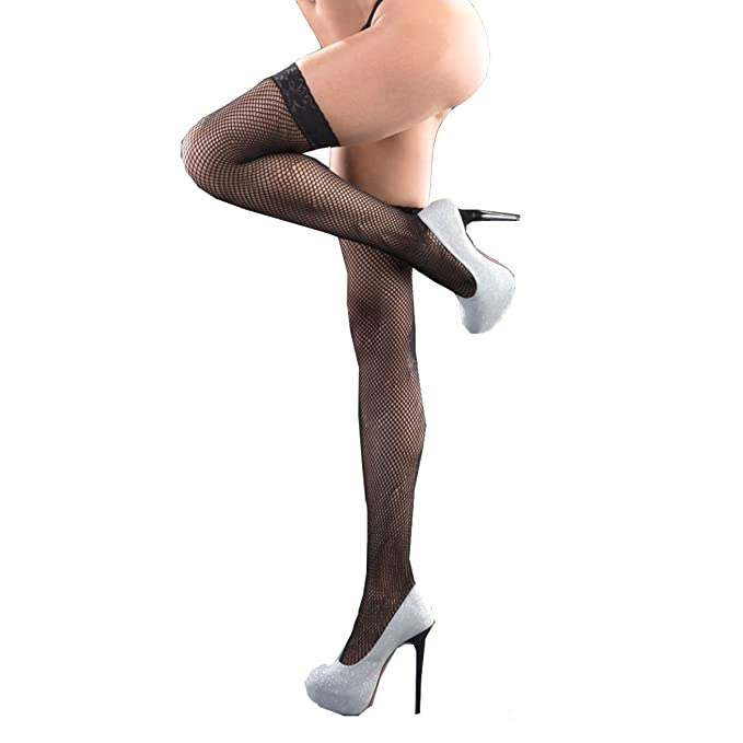 91142b052 Image Unavailable. Image not available for. Color  TOYLACE Silicone Lace  Top Fishnet Thigh-High Stockings Black