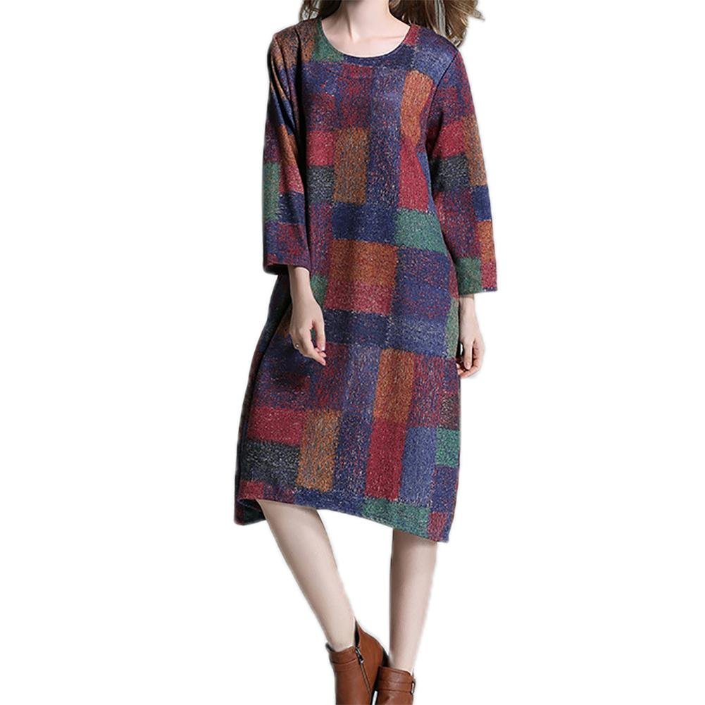 M&C Women's Wool Dress Medium Size Ladies Plaid Jumpers Skirt , color pattern , xxxl
