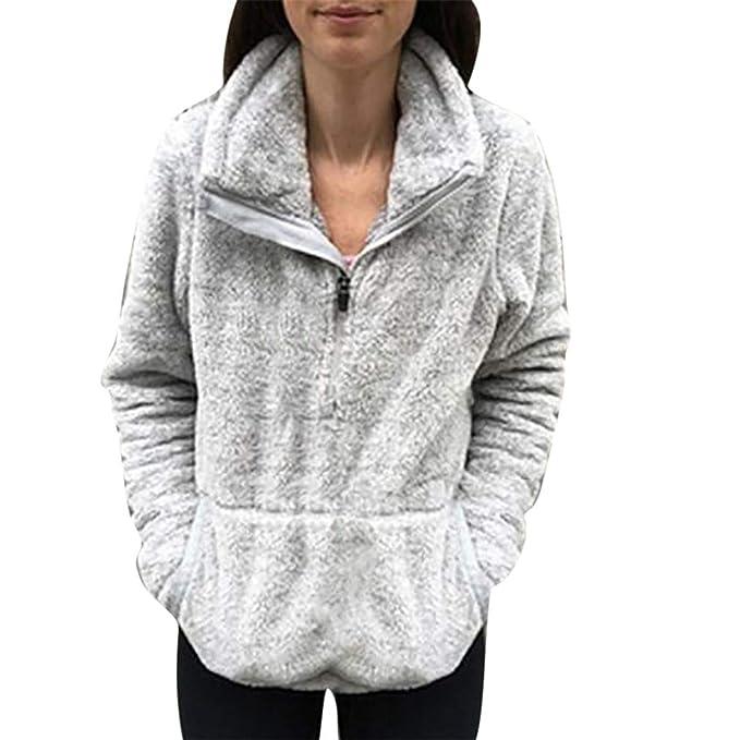 e8ad74eda08fb7 Frauen Langarm Sweatshirt Damen Herbst Winter Mantel Mode warme Wolle  Flauschige Reine Farbe Baumwolle Mantel Outwear