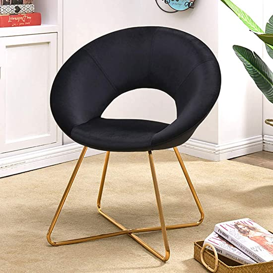 Modern Accent Velvet Chair Single Sofa Comfy Upholstered Arm Chair Living Room Furniture for Kitchen Dining Living Room Black