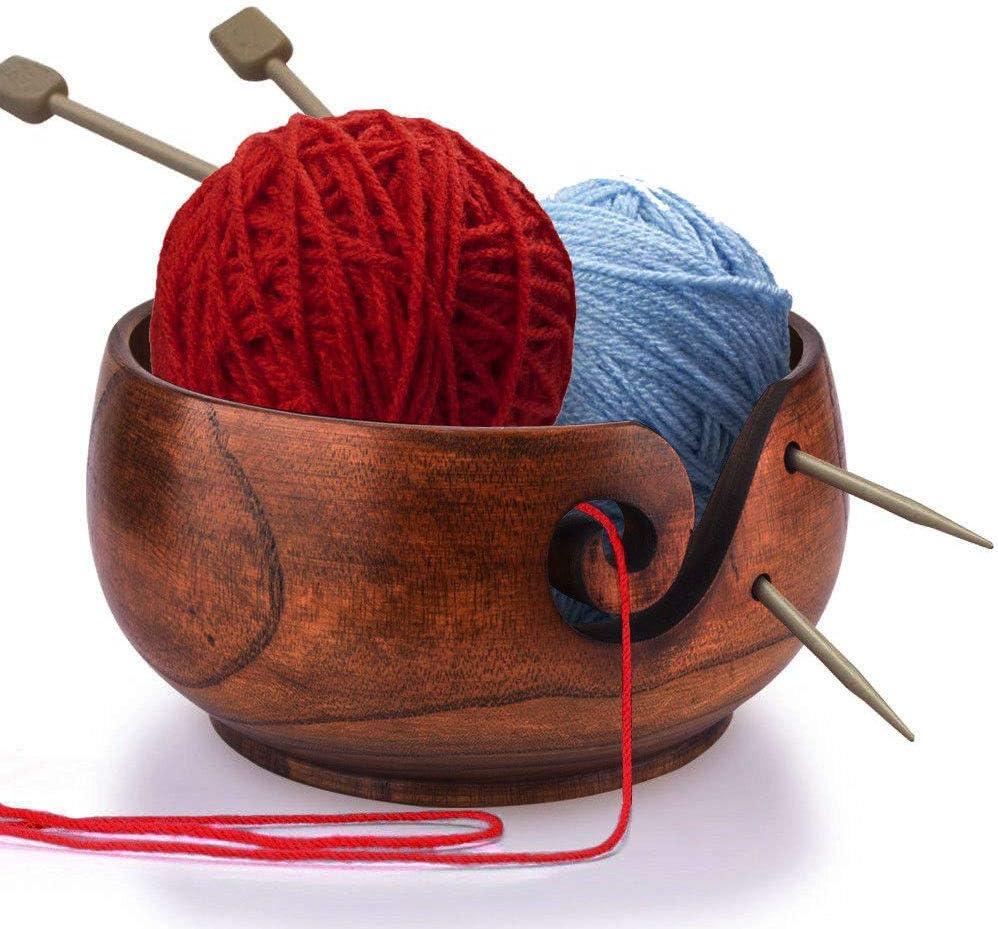 Mittlerer Durchmesser nat/ürliche handgefertigte Holzgarnschale zum Stricken von H/äkeln Wohnkultur ViaGasaFamido Garnschale