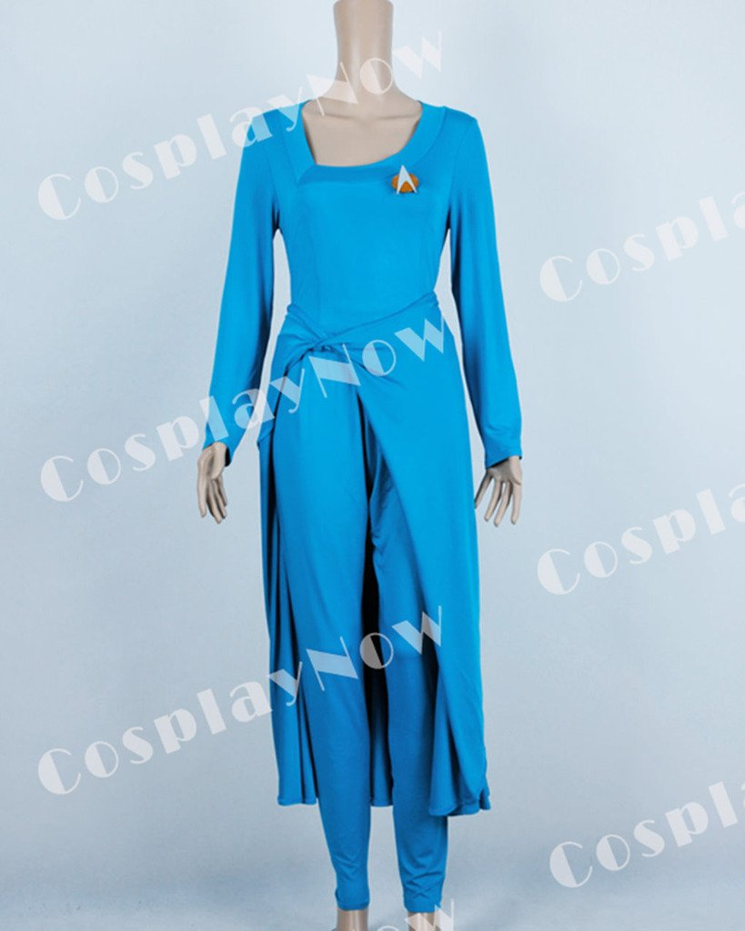 CosplayNow Star Trek Deanna Troi Cosplay Costume Dress Blue Custom Made by CosplayNow (Image #7)