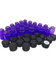 Elufly 1/4 5/8 Dram Purple Glass Vials 1ML/2ML Essential Oil Perfume Bottles 60-150 Units (150, 1ML)