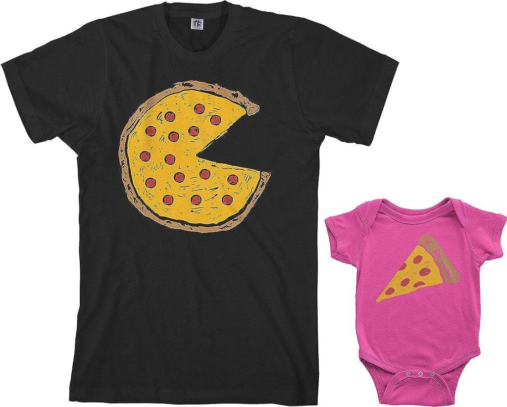Threadrock Pizza Pie & Slice Infant Bodysuit & Men's T-Shirt Matching Set (Baby: 6M, Hot Pink|Men's: L, Black)