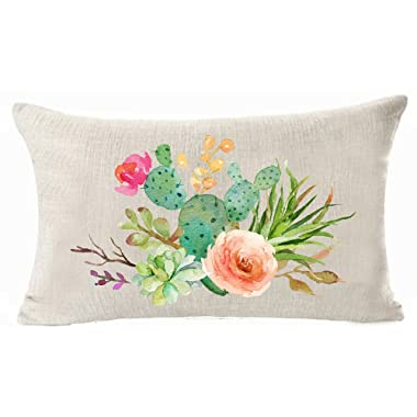 Art potted succulents Cactus flowers Cotton Linen Throw Pillow covers Case Cushion Cover Sofa Decorative Square 12 X 20 inch (2)