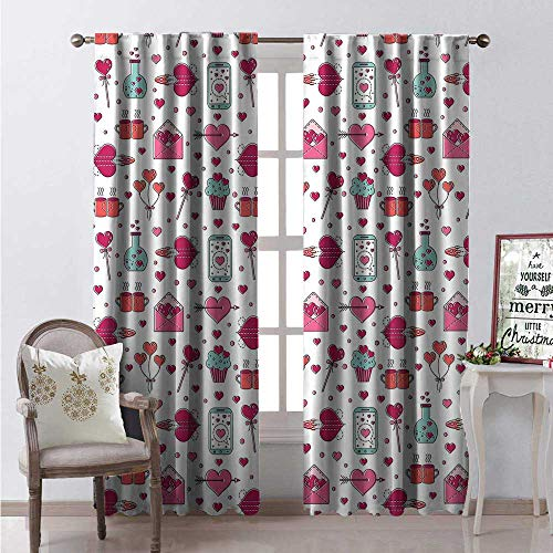 Valentines Day Room Darkening Wide Curtains Love Themed Sweet Composition Hearts Cups Letters Phones Balloons Waterproof Window Curtain W108 x L84 Multicolor ()