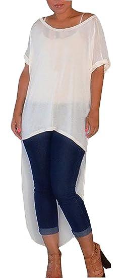 Blusas De Mujer Elegantes Moda Irregular Camiseta Larga Blanco Manga Fiesta Dresses Señoras Corta Cuello Redondo