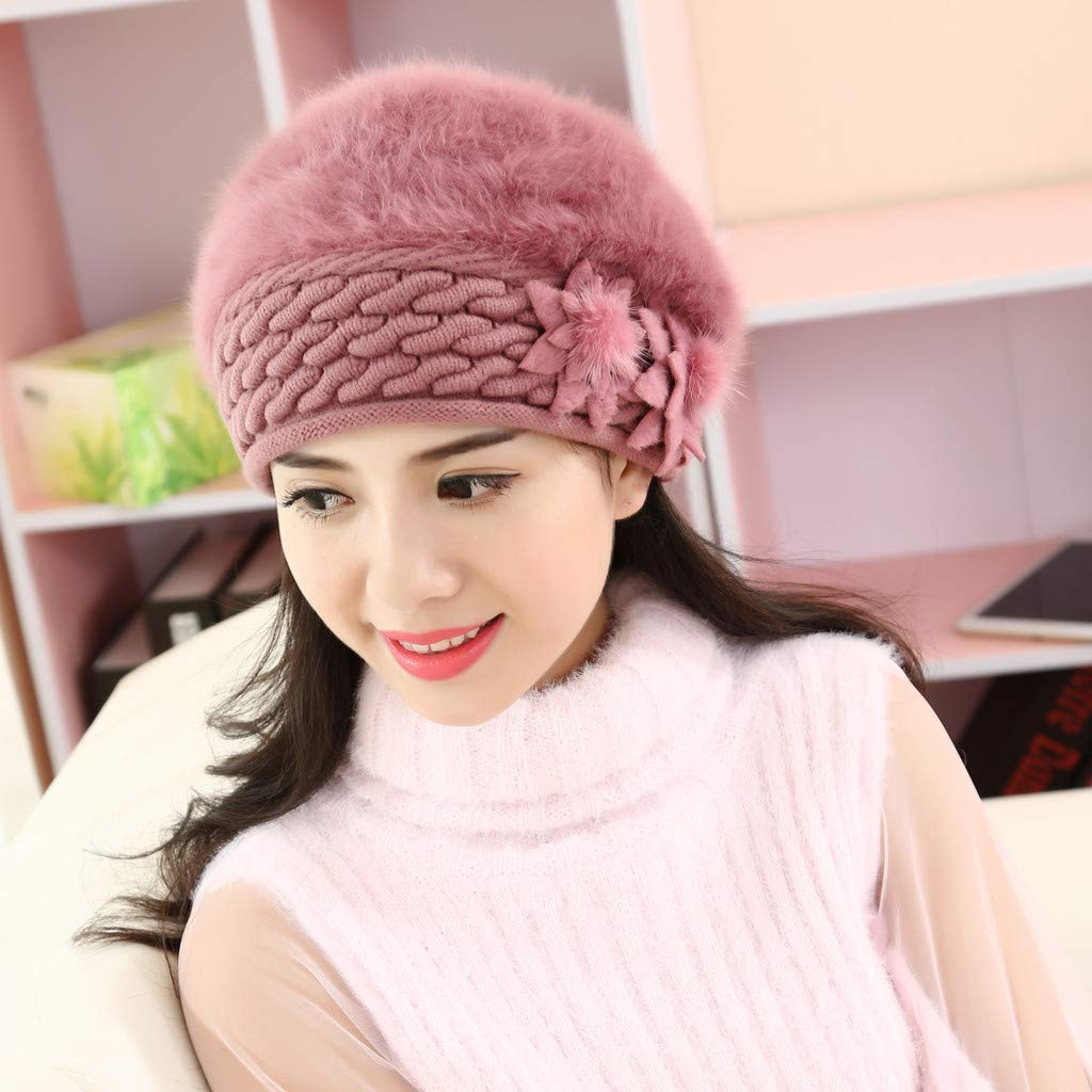 Thenxin Women Winter Warm Wool Beret Baggy Knitted Beanie Hat Slouch Floral Cap