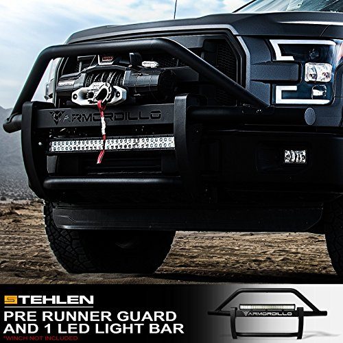 Topline Autopart Matte Black Bull Bar Brush Push Front Bumper Grill Grille Guard With Skid Plate For 07-18 Toyota Tundra ; 08-17 Sequoia